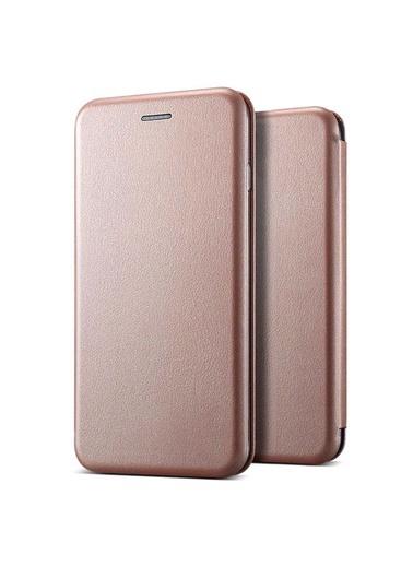 Microsonic Mi Note 10 Kılıf Ultra Slim Leather Design Flip Cover Rose Gold Pembe